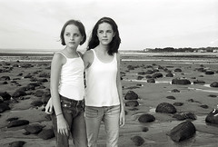 sisters parsons beach (toyfoto) Tags: portraits bw blackandwhite aftermanipulation beach maine pcss