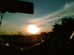 sunset in the boot, i meant vehicle. (nylarehs) Tags: handphone