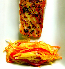 grilled salmon with  green mango achara (chotda) Tags: food colorful tasty condiment filipino colourful pickle chamorro sweetandsour greenmango achara chamoru