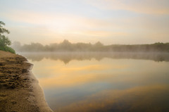 The misty sunrise at the river (YuTrof) Tags: russia air bank bushes calm clear clouds dawn fog grass grassland greenland herb mist misty morning nature outdoor plain river sand shore sky summer sun sunrise twilight water