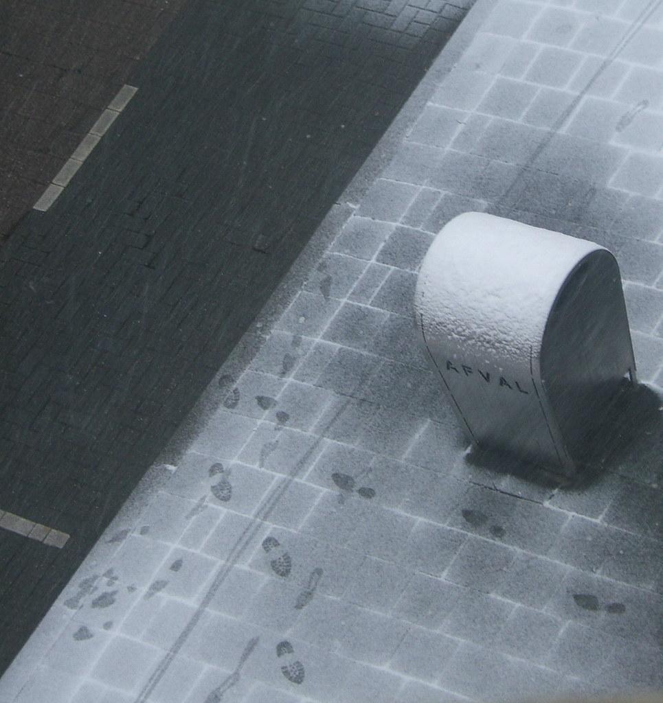 snowy trashcan