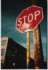 lomo_stop sign (goodtime) Tags: 2005 sanfrancisco city urban lomo lca lomography streetsign busstop stop foundinsf bryantstreet fujisuperia400 push1 gwsf5party gwsflexicon mostviewsingwsf