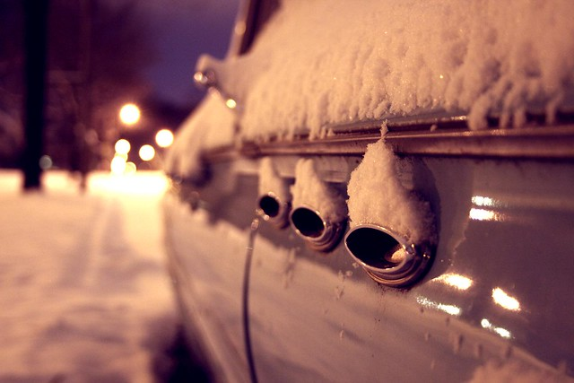 old snow classic car wisconsin night canon landscape buick classiccar gm bokeh tripod lesabre collectors oldcar wauwatosa portholes generalmotors thermophle 1961buicklesabre