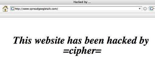This website has been hacked by =cipher= by Salim Virji on flickr