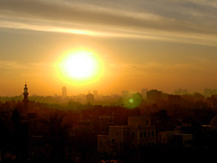 Old Cairo during sunset from Azhar Park, Cairo, Egypt (mnadi) Tags: sunset panorama sun set egypt sunny cairo azhar