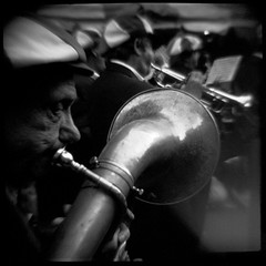 Tuba Player - Feast  of San Gennaro Festival in Little Italy, NYC - September 25, 2004 (davebias) Tags: nyc blackandwhite toycamera diana squareformat