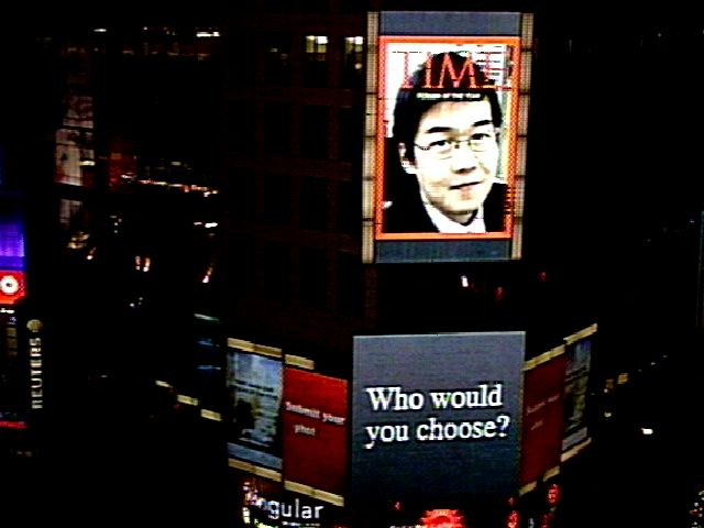 TIME Magazine's Person of the Year in Times Square