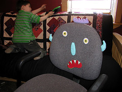silly chair monster (massdistraction) Tags: chairmonster silly monster hybrid creature chair computerchair fun littleman cute velcro chairface face weird puppet handpuppet