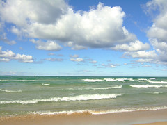 Lake Michigan (joeldinda) Tags: blue sky lake beach colors clouds interestingness waves michigan horizon interestingness1 perspective blues f10 lakemichigan greatlakes michiganfavorites greens michiganparks breakers joeldinda catheadbay photocontesttnc09