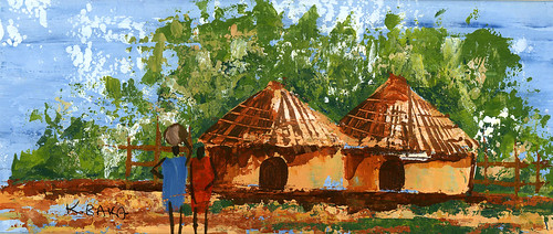 village huts by K. Baka
