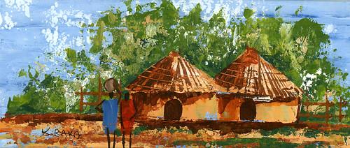 village huts by K. Baka