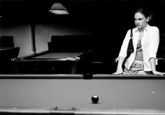 Renee at the pool hall (world_of_noise) Tags: renee pool bw pentaxmesuper
