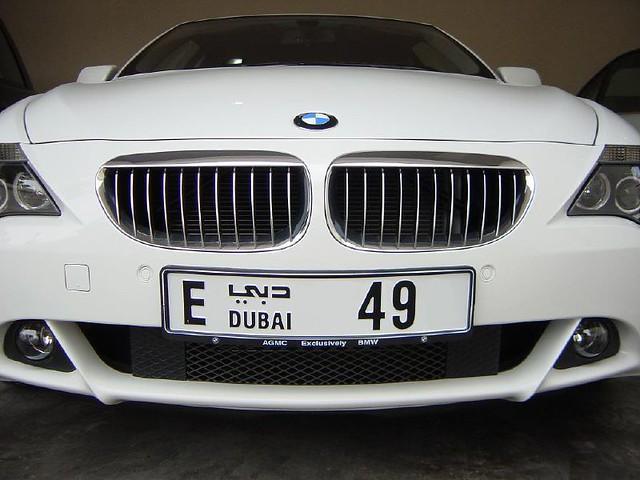 car 645 bmw white 49 number plate dubai uae