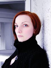 shutter (helveticaneue) Tags: 2005 door blue red portrait selfportrait laura me veranda shutters april adifferentanimal flickysselfportrait kicey laurakicey pflg