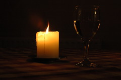 Days End (frielp) Tags: candle wine glass evening relaxing tablecloth table reflection wineglass flame wax pattern heat dark outline nikon d70 1870mm
