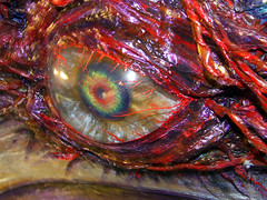 Nightmare's Soul Edge's eye (orgXIIIorg) Tags: iris red anime eye colors closeup lens photography costume expo cosplay painted 2006 eyeball soul convention sword nightmare ax multicolor animeexpo soulcalibur calibur yui ohayocon soulcalibur2 souledge