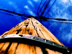 Worried about Electricity (joaobambu) Tags: 2005 wood blue sky abstract macro topf25 colors topv111 closeup contrast interestingness interesting intense topv555 topv333 colorful post picasa2 edited topv1111 topv999 perspective picasa unfound frombelow pole crisp electricity topv777 landoverdrive favorited