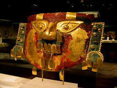 peru - funerary mask (Csbr) Tags: 2005 park travel winter newyork color history peru southamerica museum gold ancient paint december mask centralpark manhattan south andes canonixus400 themet publication peruvian prehispanic lambayeque sican laleche 197427135