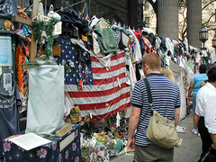 Broadway l - Sept 11, 2002 (dulcelife) Tags: 911 wtc newyorkcity newyork wallstreet worldtradecenter twintowers dulcelife path financialdistrict disaster groundzero olympus olympus4500