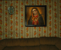 Dolorosa (Mary Hockenbery (reddirtrose)) Tags: wallpaper vintage couch sofa guadalupe virginmary dolorosa