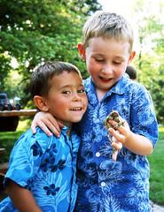Gavin & Kyle. (upthedubs1) Tags: blue film kids brothers michigan slide olympus slidefilm frog frogs xa
