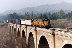 Union Pacific Railroad Bridge, Riverside, California (Thad Roan - Bridgepix) Tags: california railroad bridge train concrete photo smog arch riverside bridges rail railway arches historic viaduct unionpacific locomotive 200401 bridging santaanariver riversidecounty bridgepixing bridgepix bridgeblog bridgephoto bridgepicture marthamcleananzanarrowspark
