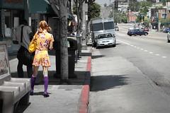 stalking pippi longstocking (Orrin) Tags: street woman losangeles lenstagged colorful purple sidewalk thin echopark topv3333 canonef2470mmf28lusm 2470l sunsetblvd kneesocks