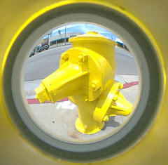 snoopy (dogwelder) Tags: california yellow hydrant fisheye firehydrant snoopy zurbulon6 peephole fireplug fisheyelens northhollywood lankershim zurbulon gatturphy