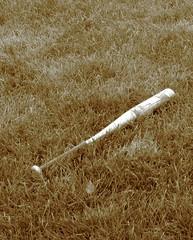 Bat in the Grass (fifthturtle48) Tags: grass sepia baseball bat pastime baseballbat