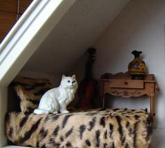 The cat in the bedroom. The beginning. (Anna Amnell) Tags: toys miniatures miniatura dollhouse persiancat dollshouse munecas puppenhaus nukkekoti nukketalo