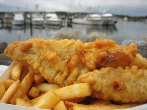 A nice portion of Shark and Tatties or fish and chips!