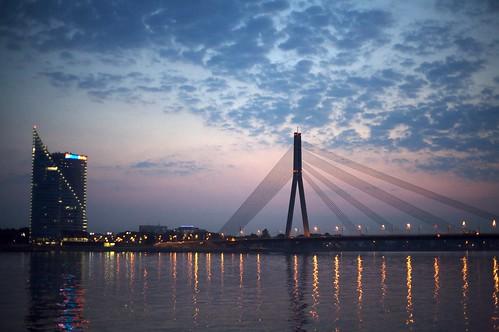 Riga Bridge by Twilight