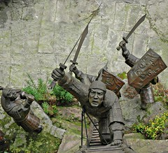I think he's going to harm me... (Pat Rioux) Tags: china statue warrior chongqing oldwall