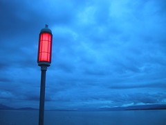 Red signal over Leman Lake (Fispace) Tags: blue red lake saint clouds switzerland leman signal sulpice genevalunch