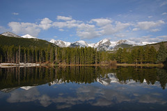 Sprague Lake, Mirrored (Robby Edwards) Tags: vacation lake mountains reflection water tag3 taggedout clouds wow landscape mirror nationalpark colorado tag2 tag1 rockymountain estespark breathtaking rockymountainnationalpark flattopmountain payitforward spraguelake hallettpeak specland specnature