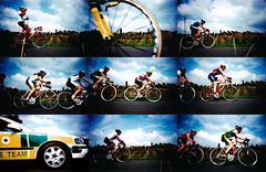 road race (lomokev) Tags: england sky car bike wheel stone wall race countryside lomo lca xpro lomography crossprocessed xprocess country bikes games lomolca ambulance cycle montage agfa jessops100asaslidefilm agfaprecisa commonwealth commonwealthgames fahrrad vlo lomograph fiets bicicletta agfaprecisa100 jessops cruzando bicis precisa jessopsslidefilm rota:type=mabye