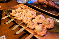 Shrimp and Quail Egg (earthhopper) Tags: food chicken japan geotagged japanese tokyo yummy shibuya   yakitori    geo:lon=139698962  dogenzaka geo:tool=yuancc geo:lat=35657331 komaya