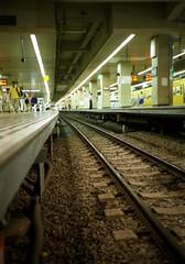 a view under ground level (matsugoro) Tags: station night tokyo lomo lca perspective platform rail level ikebukuro