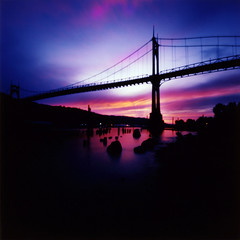 St Johns Bridge (Zeb Andrews) Tags: oregon portland sunsets pinhole pacificnorthwest zeroimage kodak100uc stjohnsbridge zero66 bluemooncamera zebandrews zebandrewsphotography