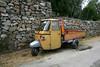 Piaggio patchwork (dr_loplop) Tags: italy orange green water wheel yellow three bottle rocks campania ape van piaggio gabions p601 freethegabions