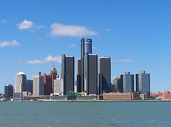 Detroit Skyline (paulhitz) Tags: life city blue summer sky urban color home water skyline clouds river paul town riverside michigan hometown detroit blues 2006 mich motor detroitriver hitz the motown motorcity detroitskyline thed paulhitz amazemich