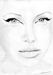Angelina Jolie (ladyLara ( Laura Blc )) Tags: portrait people bw woman laura celebrity art lines pencil sketch blackwhite artwork handmade drawing drawings line angelinajolie romania myart actor angelina jolie portret cluj arta myway angi desen creion schita ladylara laurabalc laurablc blc celebritydrawings