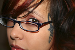 red brown girl beautiful tattoo hair asian glasses eyes lips full