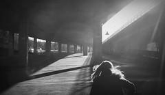 Canon EOS 60D - Bristol - Urban Visions (Flickr Crop) (TempusVolat) Tags: street urban blackandwhite bw sun sunlight white black girl monochrome architecture canon hair bristol underpass geotagged concrete eos mono becca mr running blonde dslr canoneos gareth flyover sunray tempus morodo 60d volat garethw eos60d mrmorodo garethwonfor tempusvolat tempsvolat