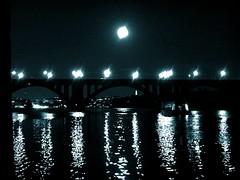 Blue Night (jtstevens_228) Tags: city bridge blue light sky moon water night river lights washingtondc dc washington streetlights georgetown potomac ripples potomacriver nite boatride