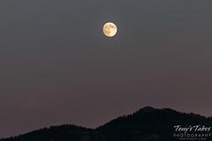 A near full moon above Estes Park