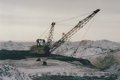 Drag lines at work (smokey pipes) Tags: canada saskatchewan coal stripmining opencast dragline walkingdragline