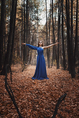 Alyona (ivankopchenov) Tags: blue autumn trees light portrait people orange girl leaves forest mood dress natural outdoor