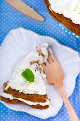 carrot cream pie from cottage cheese (Zoryanchik) Tags: food orange white cake closeup cheese table dessert close sweet background walnut cream plate vegetable fresh gourmet delicious homemade slice snack carrot pastry icing portion piece frosting baked