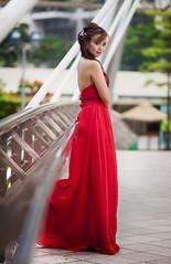 Khaye (akachoke) Tags: bridge red portrait woman beauty eos singapore dress 85mm 40d